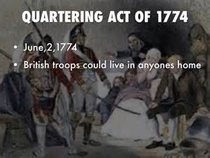 Image result for 1774 - The Quartering Act,