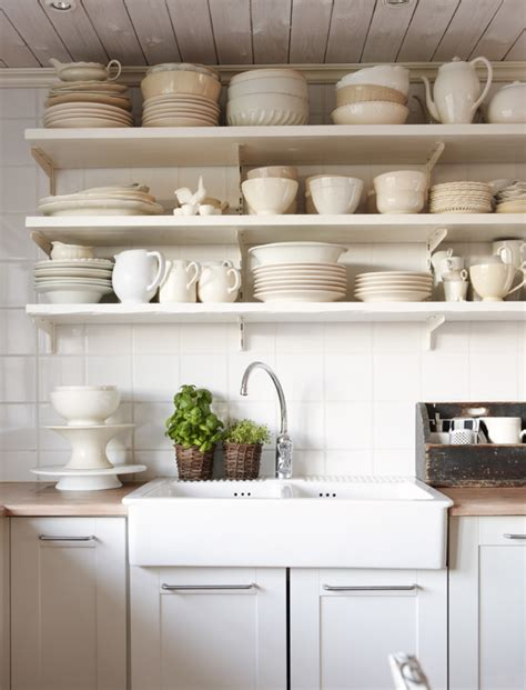 ivory kitchen faucet tips for stylishly that open kitchen shelving