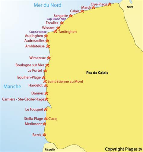 Carte Des Plages Nord plages pas de calais 62 liste des stations baln 233 aires