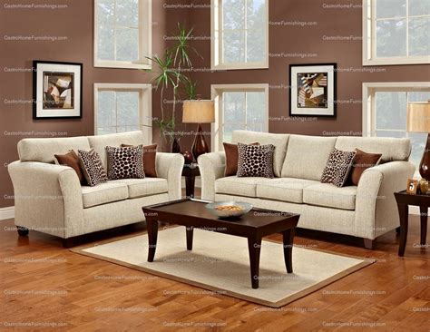 Hockley Sofa And Love Seat Set Tan Fabric + Plush Pillows