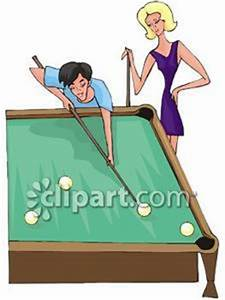 Couple Playing Pool - Royalty Free Clipart Picture