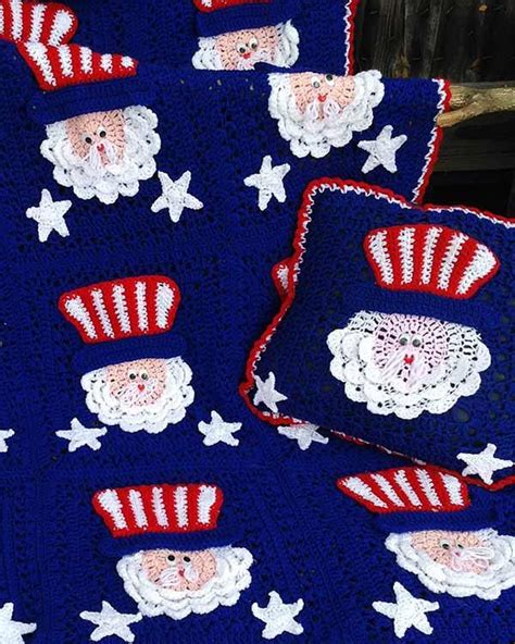 july uncle sam afghan pillow set crochet pattern