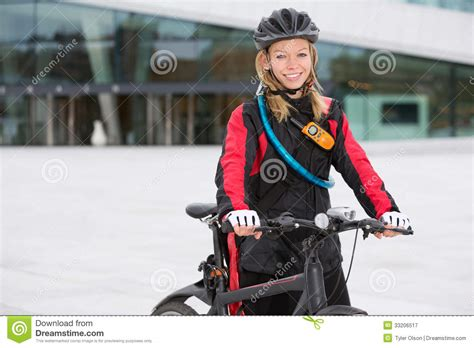 Female Bike Messenger Royalty Free Stock Photography