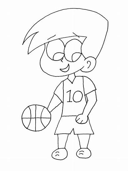 Basketball Coloring Pages Sports Playing Boy Printable