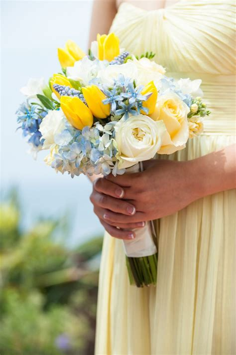 yellow  light blue bouquet tulips hydrangea roses