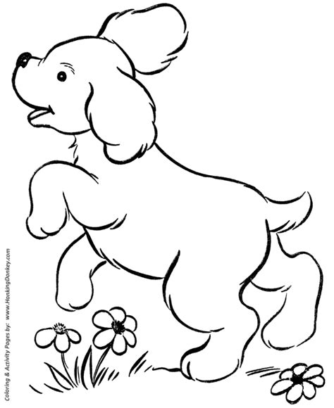 dog coloring pages printable cute puppy playing coloring