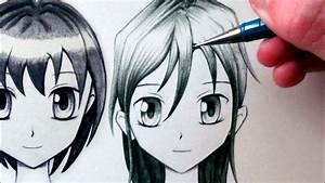 How to Draw a Manga Face - Front View [Female] - YouTube