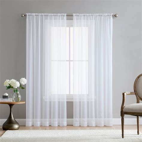 Sheer Drapes by Europe Solid White Sheer Curtains For Kitchen Window Tulle