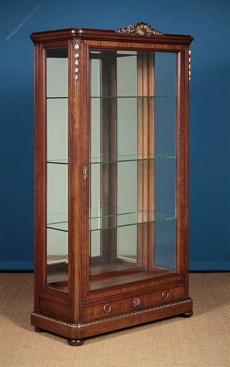 vintage display cabinets large brass mounted vitrine or display cabinet antiques 3189