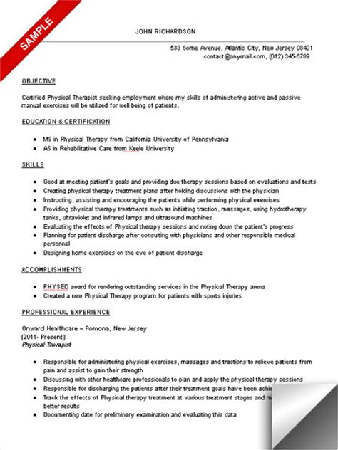 sample resume  fresh graduate physiotherapy sample resume