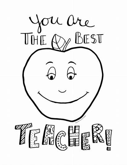 Teacher Coloring Pages Appreciation Printable Week Card