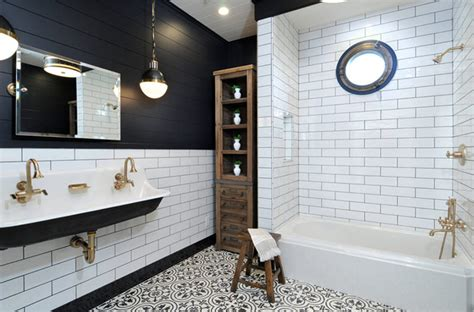 banheiros decorados  inspiracoes  preto  branco