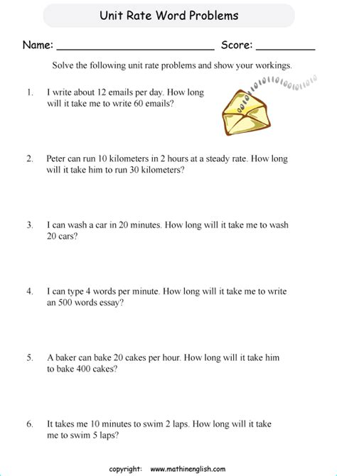 unit rate problems worksheet  geotwitter kids activities