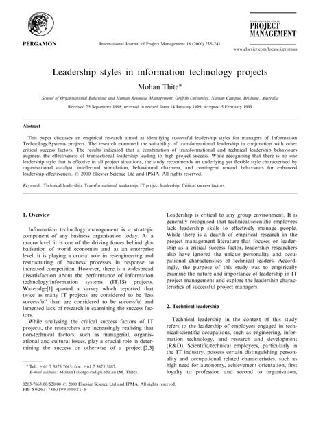 leadership styles  information technology projects