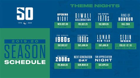 canucks announce regular season schedule theme night