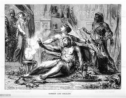 Samson Delilah Biblical Bible Engraving Vector Illustrations