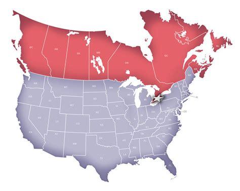 canada  usa map  travel information