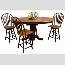 5piece Pedestal Butterfly Leaf Pub Table Set With 24