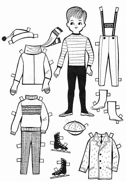 Paper Doll Dolls Cut Printable Coloring Template