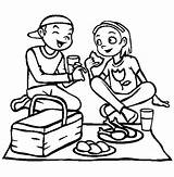 Picnic Eating Coloring Lunch Pages Girlfriend Drawing Netart Getdrawings sketch template