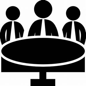 Business meeting group on circular table - Free people icons