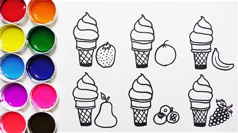 Dibujar y Colorear Helados de Frutas Dibujos Para Niños