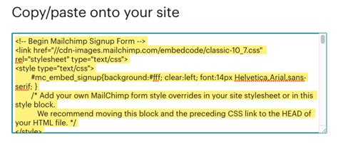code for pretty horizontal mailchimp signup form add a signup form to your website mailchimp