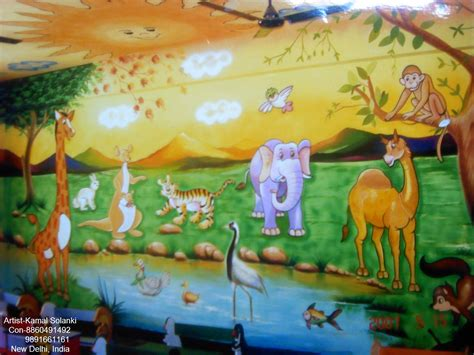 kids room wall paintings play school wall painting