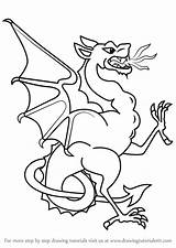 Wyvern Draw Step Drawing Coloring Pages Template Sketch Drawingtutorials101 Dragons Tutorials sketch template