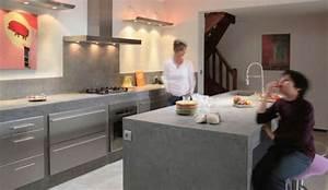 le beton cire investit la cuisine cote maison With beton cire mur cuisine