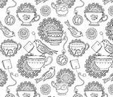 Tea Coloring Afternoon Fabric Spoonflower sketch template