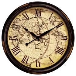 Infinity Instruments Distressed Map Wall Clock 11884v4