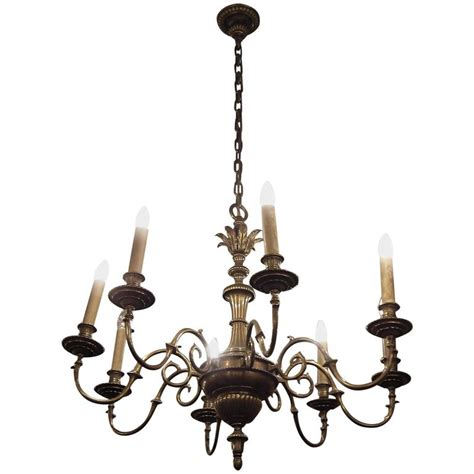 bronze chandelier with accents 1930s eight arm bronze chandelier with leaf accents for