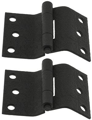 pair  forged iron offset mortise shutter hinges      house  antique hardware