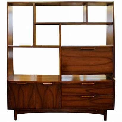 Down Divider Bookshelf Drop Desk Modern Walnut