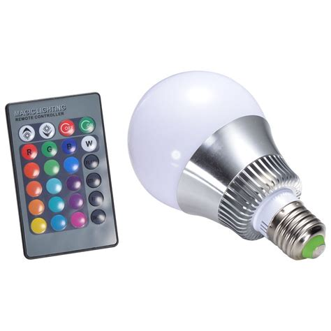 10w e27 rgb led light bulb 24 key ir remote led