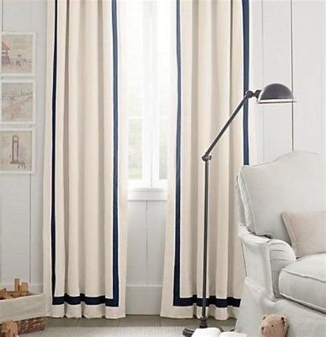 white curtains with navy trim pair two 50w panels grosgrain ribbon trim linen curtains