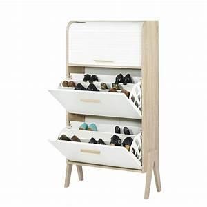 Rangement De Chaussures : meuble rangement chaussures style scandinave 18 paires ~ Dode.kayakingforconservation.com Idées de Décoration