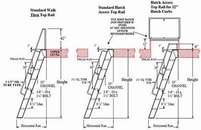Stair Tread Alternating Steel Stairs Drawing Industrial