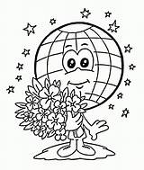 Earth Coloring Pages Printable Printables Globe sketch template