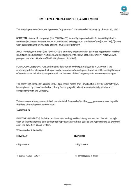 employee  compete agreement templates