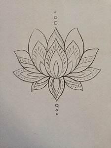 Simple Black Outline Lotus Flower Tattoo On Ankle