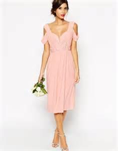 cold shoulder dresses for wedding asos wedding cold shoulder ruched midi dress in pink lyst