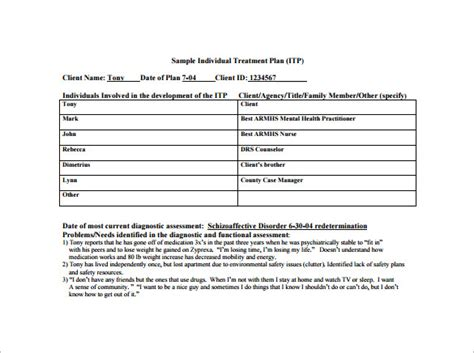 Treatment Plan Template Treatment Plan Template Cyberuse