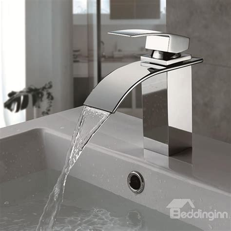 Modern Bathroom Faucets And Fixtures by Single Handle Finish Chrome Waterfall Bathroom Sink