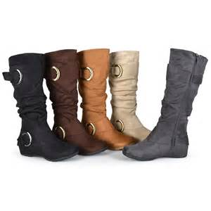 womens boots calf brinley co womens buckle accent slouchy mid calf boots ebay