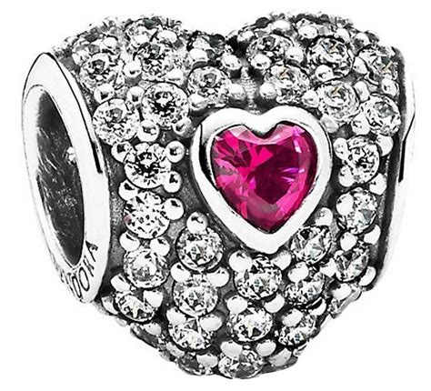 PANDORA 791168SRU Red Pave Tripple Heart Charm Women's