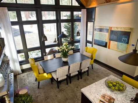 home designer interiors 2014 dining room with length windows and electric yellow