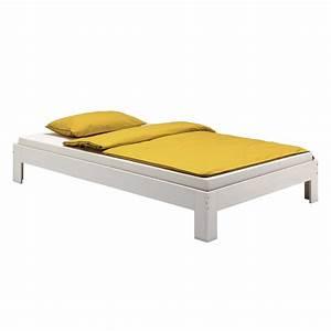 Lit 120 200 : lit futon thomas en pin massif 120 x 200 cm lasur blanc mobil meubles ~ Teatrodelosmanantiales.com Idées de Décoration