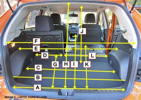 subaru xv crosstrek cargo area measurements  dimensions